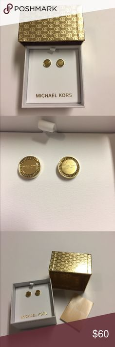 "MK Gold Studs So precious! These have the ""Michael Kors"" name in the middle. Very feminine and subtle. Not statement jewelry. 😍😍 Michael Kors Jewelry Earrings"