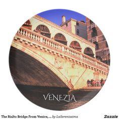The Rialto Bridge From Venice, Italy Dinner Plate
