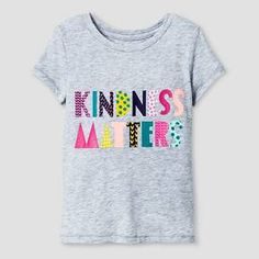 Toddler Girls' Kindness Matters Short Sleeve Graphic T-Shirt Grey - Cat and Jack™ : Target