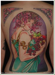 "Jeremy Justice (Tattoo Artist) :: ""Fruit"" Backpiece Tattoo.  (Alphonse Mucha)         Fr. nouveautattoos.com"