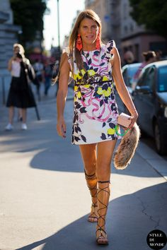 abstract print dress with lace up sandals