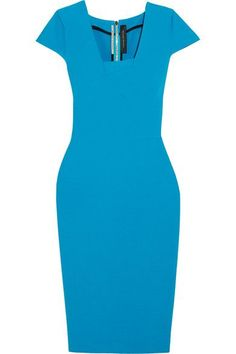Blue stretch-crepe Zip fastening through back 67% polyester, 29% viscose, 4% elastane Dry clean