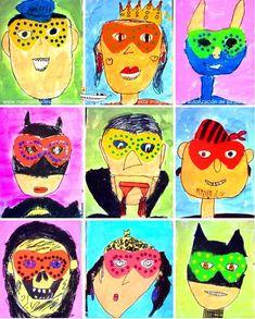 Esta manualidad es ideal para hacer por Carnaval con los niños. Para hacer esta actividad cada niño tendrá que dibujar un personaje lleno de color, cada uno de ellos llevando su máscara de Carnaval. Cuanto mas colorido mejor. Aquí tenéis...