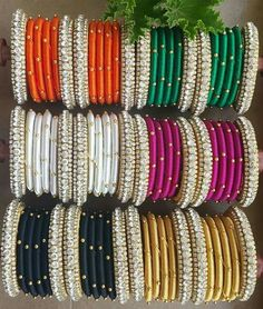 Each colour Bangles set cost 250 rupees only. All you want only I given 1250 Silk Thread Bangles, Thread Jewellery, Thread Bangles Design, Bridal Chura, Flower Coloring Pages, Silk Art, Bangle Set, Jewelry Patterns, Indian Jewelry