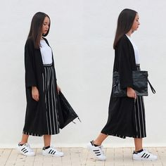 Esther L. - Missguided Long Duster Coat, Zara White Basic T Shirt, Adidas Superstar, Oasap Strippes Culottes Pants, Newdress Maxi Clutch - STRIPES CULOTTES & ADIDAS SUPERSTAR