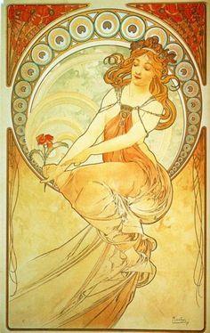 La Pintura (1898) De la serie Las Artes Alfons Maria Mucha (Chequia/Francia, 1860-1939) Art Nouveau