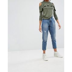 Only Mom Distressed Mom Jean (180 BRL) ❤ liked on Polyvore featuring jeans, blue, ripped blue jeans, high rise skinny jeans, ripped jeans, distressed jeans and high waisted jeans