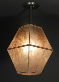 Double Square Mica Hanging Lamp ceiling light fixture with Maidenhair fern Sue Johnson lamps, Solano Avenue