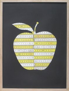 Sliced apple (2013) Wooden rulers, board, acrylic. 42x30cms by Miles Allen. Local Brisbane studio artist. Using old fruit creates (or rulers) for works of art