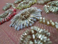 Cotton thread & Dabka work Zardosi Embroidery, Embroidery On Kurtis, Hand Embroidery Dress, Embroidery Neck Designs, Hand Embroidery Videos, Bead Embroidery Patterns, Couture Embroidery, Creative Embroidery, Embroidery Fashion