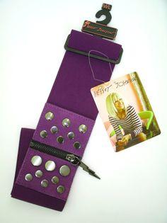 BETSEY JOHNSON Elasticized BELT Purple STUDDED Zip LIGHTHING Wide M/L $45 | eBay