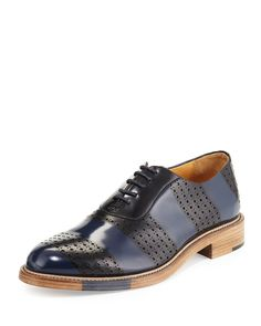 "The Office of Mister Scott striped, brush-off leather oxford. 1.3"" stacked heel. Round toe. Lace-up front. Perforated details. Goodyear leather welted. Leather outsole. Made in Portugal."