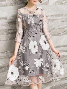23211ce97ba Gray 3 4 Sleeve Printed A-line Floral Elegant Dresses Women s Summer Fashion