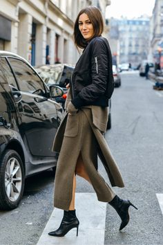 Bomber jacket, pointy boots and monochrome knits. Giorgia Tordini nails it