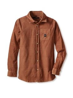 60% OFF Silvian Heach Boy's Plaid Corduroy Shirt (Fantasy Only)