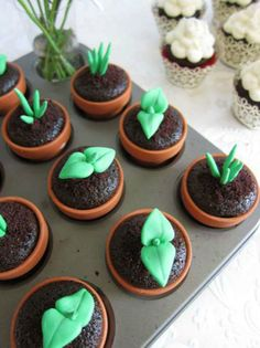 Growing Cupcakes -- these little pots are so  nice and would be so easy to do with the foodie floor!