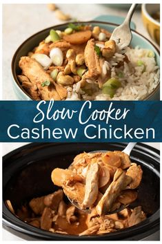 Slow Cooker Cashew Chicken, An Easy And Delicious Dinner Everyone Can Enjoy Instead Of Ordering Out, Make This In Your Crockpot. Slow Cooker Recipes, Crockpot Recipes, Chicken Recipes, Cooking Recipes, Delicious Recipes, Chicken Ideas, Yummy Food, Freezer Cooking, Simple Recipes