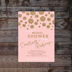 Bridal Shower Wedding Invitation glitter blush gold by Annamalie