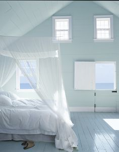 Create an open, airy and fresh bedroom retreat with Carriage Blue from Ralph Lauren Paint's Atlantic Light Palette