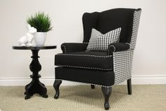 Houndstooth Wingback Chair