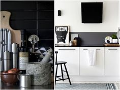 white kitchen with black painted backsplash
