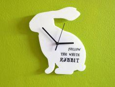 Because he loves Alice in Wonderland  Follow the White Rabbit  Wall Clock van ObjectIndustrialArt op Etsy, $25.50