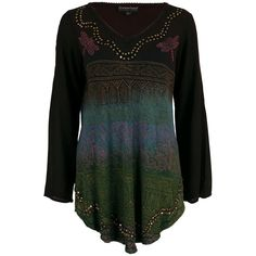 Stunning dragonflies dance across the crisp colors of this lightweight tunic. The comfortable rayon material creates a nature-inspired chic style.