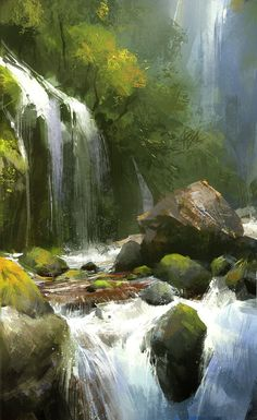 Kevin Hou is an illustrator and concept artist based in Shenzhen, China. - Kevin Hou is an illustrator and concept artist based in Shenzhen, China. This talented artist draws - Fantasy Landscape, Landscape Art, Landscape Paintings, Fantasy Art, Elves Fantasy, Landscape Illustration, Waterfall Paintings, Environment Concept Art, Environmental Art