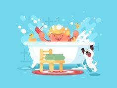 Baby in bath by Anton Fritsler (kit8) #Design Popular #Dribbble #shots