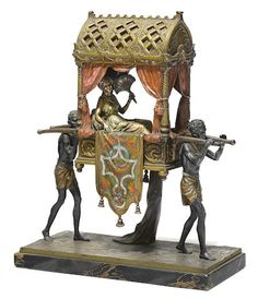 A Franz Bergman cold painted bronze group: Carrying the Princess early 20th century