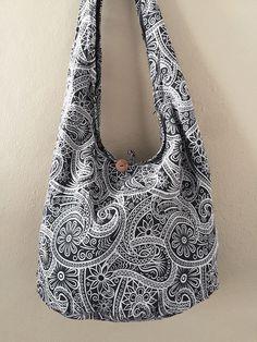 Fl Printed Shoulder Bag Crossbody Hippie Boho Cotton Handbag Black Thaibag