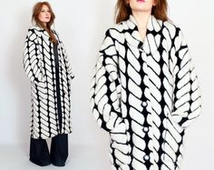 vintage 80s MOHAIR WOOL black white Maxi by TinRoofVintage on Etsy, $175.00