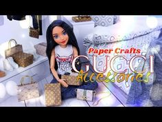 DIY - How to Make: Louis Vuitton Style Doll Accessories Hello Kitty Accessories, Barbie Accessories, Doll Crafts, Diy Doll, Fun Crafts, Myfroggystuff, Diy Barbie Furniture, Dollhouse Furniture, Diy Barbie Clothes