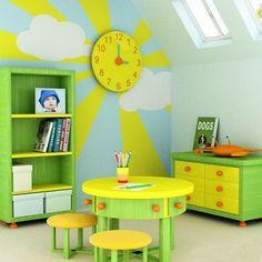 bright color schemes... love the clock sun