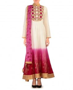 Ombre Pink and Red Anarkali Suit with Embroidered Bodice - $327