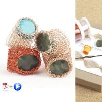 BOHO ring - Stone ring in wire crochet - DIY kit