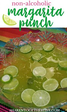 Tart and sweet, this non-alcoholic Maybe Margarita Punch is the perfect party punch for Cinco de Mayo or even just taco Tuesday! Party Maybe Margarita Punch – Non Alcoholic Punch Non Alcoholic Margarita, Margarita Punch, Alcoholic Punch Recipes, Margarita Party, Non Alcoholic Drinks For Cinco De Mayo, Margarita Recipes, Alcoholic Beverages, Drink Recipes, Ideas Party