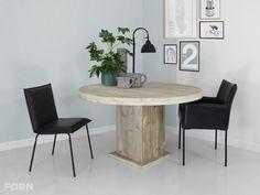 Stoere ronde steigerhouten tafel Emma! Nu verkrijgbaar bij FØRN!