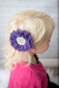 Purple lace flower hair clip for girls - La Bella Rose Boutique. Girl's hairstyles, flower girl hair, picture day hair for girls, christmas hair bow, baby girl hair accessories.