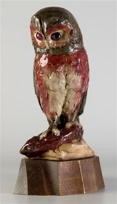Owl by Timoléon Guérin, made by Emile Müller factory, Paris, Orsay museum Terracotta, Stoneware, Jade, Owl, Carving, Museum, Paris, Bird, Crystals