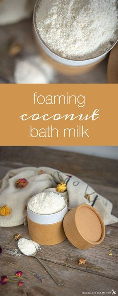 Foaming Coconut Bath Milk Last year I made some bath bombs that contained both milk powder and a surfactant, and while I loved them, I found that any large amount of milk powder negatively impacted the structural integrity of the bath bombs. Zucker Schrubben Diy, Diy Peeling, Bath Salts Recipe, Sugar Scrub Diy, Sugar Scrubs, Coconut Milk Powder, Bath Bomb Recipes, Milk Bath, Homemade Skin Care