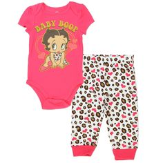 59c9db5f73 Betty Boop Coral Onesie With Baby Boop And White Pants With Coral Hearts
