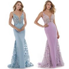 Morrell Maxie - 16098 Embroidered Deep V-neck Mermaid Dress Homecoming Dresses Long, Homecoming Queen, Graduation Dresses, Pageant Dresses, Bridesmaid Dresses, Floral Evening Dresses, Evening Gowns, Pink Dress, Blue Dresses