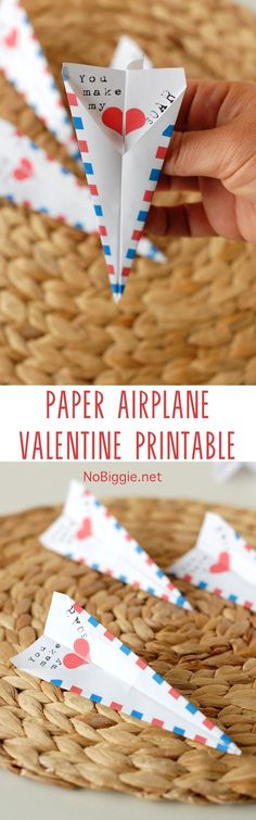 Paper Airplane Valentine print fold fly! | NoBiggie.net