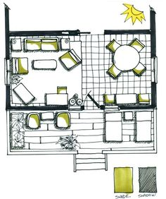 Floor plan shade & shadow Have to try this! Rendering Drawing, Plan Drawing, Technical Drawing, Design Studio Office, Interior Design Studio, Simple Floor Plans, Deco, Architectural Floor Plans, Plan Sketch
