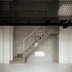 Benoit Bertrand - Chicago Loft. Loving the rough wall & concrete stairs (not sure about that white framed glass though...!)