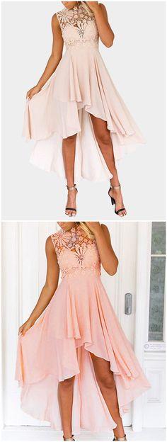 Lace Embroidery Sleeveless High-waisted Irregular Hem Dress