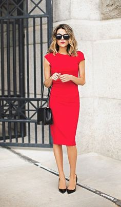 Shop this look on Lookastic:  https://lookastic.com/women/looks/red-sheath-dress-black-pumps-black-satchel-bag-black-sunglasses/10504  — Red Sheath Dress  — Black Sunglasses  — Black Quilted Leather Satchel Bag  — Black Leather Pumps
