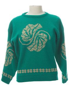 Vintage Emerald Leaves Sweater. Brighten up those dreary winter days in this bright, cozy vintage sweater.  #modcloth