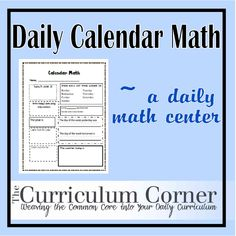 This is a great resource to help your students learn math concepts dealing with days, weeks and months.  Other skills included too!  More to come for this post, so be sure to check back!